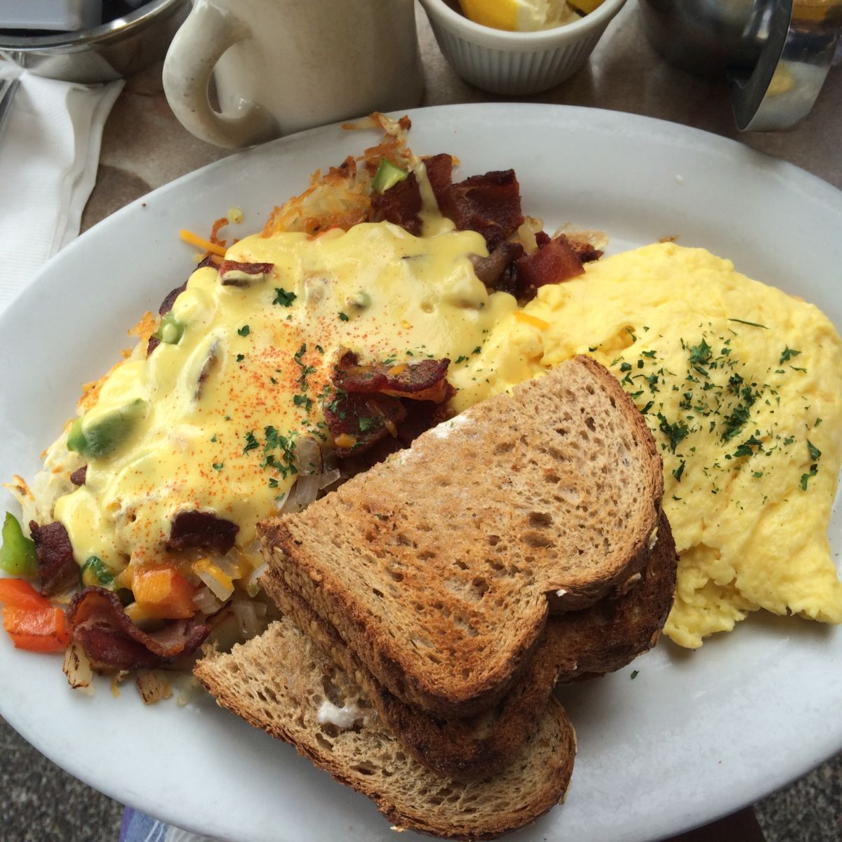 Fred's __ omelette // Shades of Pinck