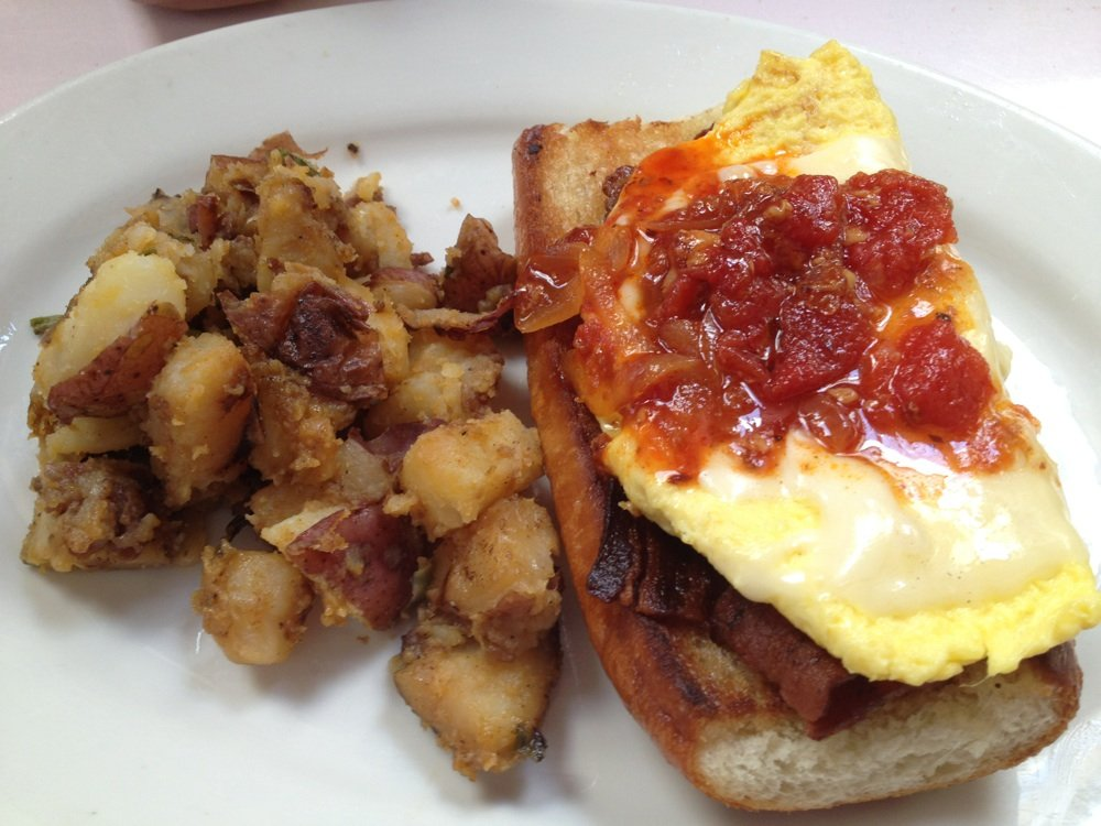 Brenda's eggs & bacon tartine (I recommend substituting the French roll for a biscuit) Photo courtesy of Yelp